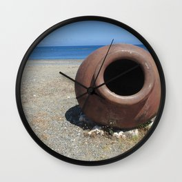 Traditional Greek Terracotta Pot on the Beach Design Wall Clock