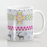 knitting Mugs featuring Winter Knitting by Ornaart