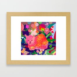 Sleeping Cat with Abstract Background Framed Art Print