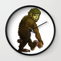 bigfoot Wall Clocks featuring Bigfoot by JoJo Seames