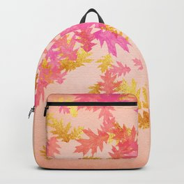 Autumn - world 1 - gold glitter leaves on pink background Backpack