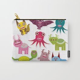 Sticker set Funny monsters collection on white background Carry-All Pouch