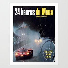 Le Mans poster, 1971, Le Mans t shirt, vintage car poster Art Print