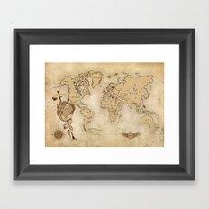 World Map (Here be Dragons!) Framed Art Print