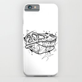 T-Rex Skull Handmade Drawing, Made in pencil and ink, Tattoo Sketch, Tattoo Flash, Blackwork iPhone Case