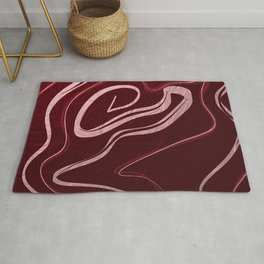 Red Rose Petals Abstract Rug