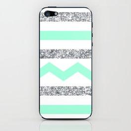 mint and glitter stripes iPhone Skin