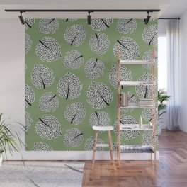 Abstract Monstera Leaf Pattern green Wall Mural
