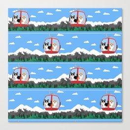 Gondola corgis telluride ski slopes custom dog Canvas Print