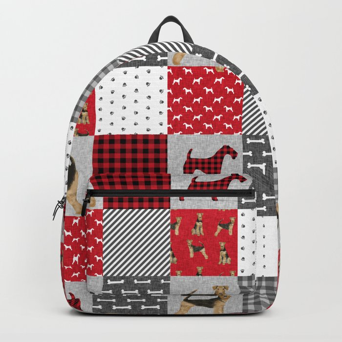 Airedale Terrier Cheater Quilt -  patchwork, airedale, dog, blanket, cute design Rucksack