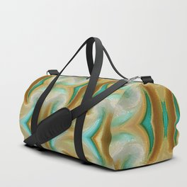 Blue-green and Brown pattern Duffle Bag