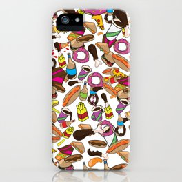 Cartoon Junk food pattern. iPhone Case
