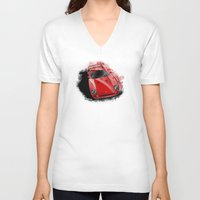 ferrari V-neck T-shirts featuring Ferrari F40 by an.artwrok