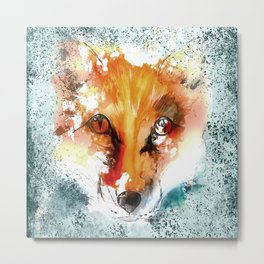 Wild wild Fox - Animal in the forest - watercolor illustration Metal Print