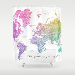 The world is your oyster world map Shower Curtain
