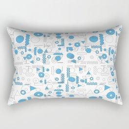 Blue White Geometric Shapes Rectangular Pillow