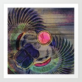 Egyptian Scarab Beetle Abstract on canvas Art Print