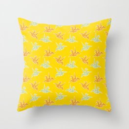 Yellow Origami Crane Japanese Kimono Pattern Throw Pillow