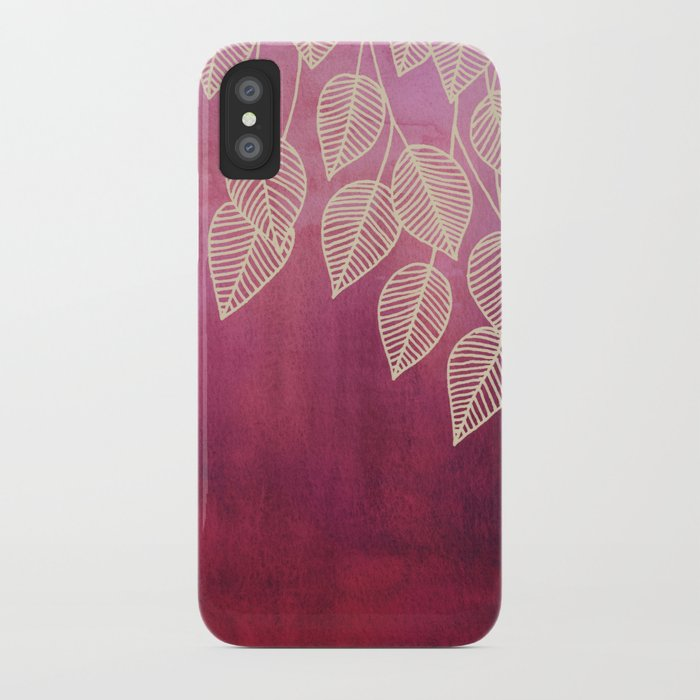 Magenta Garden - watercolor & ink leaves iPhone Case