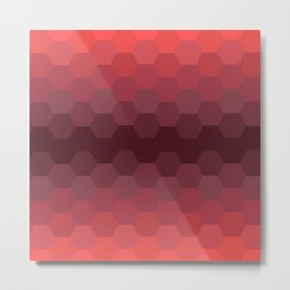 Red Honeycomb Fade Metal Print