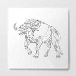 African Buffalo Charging Doodle Metal Print