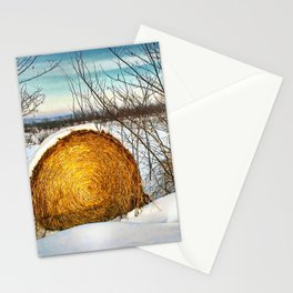 Hay bale forgotten in the snow Stationery Cards