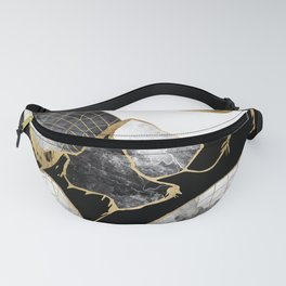 Minimal Black and Gold Mountains Fanny Pack