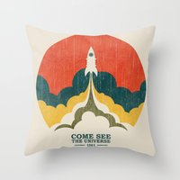 universe Throw Pillows featuring Come See The Universe by Picomodi