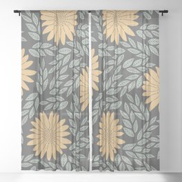 Autumn Flowers Sheer Curtain
