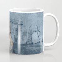 english bulldog Mugs featuring English Bulldog in Stonehenge by Barruf