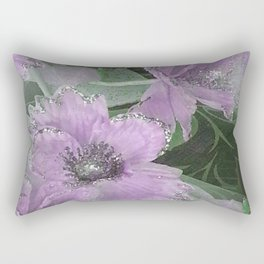 Pink Roses With Silver Glitter Rectangular Pillow