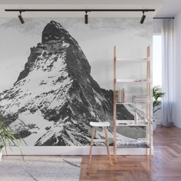 Black and White Mountain Wall Mural