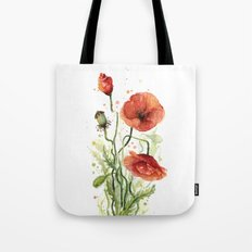 Red Poppies Watercolor Flower Floral Art Tote Bag