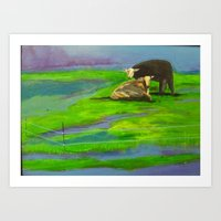 cows Art Prints featuring Cows by Ric Soens