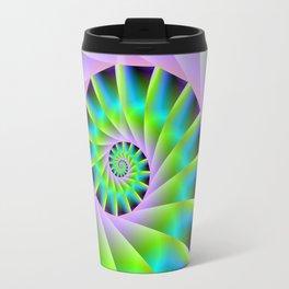 Turquoise Lilac and Green Spiral Travel Mug