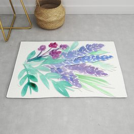 Lavender Floral Watercolor Bouquet Rug