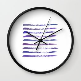 Stripes in purple and blue, hand painted Wall Clock