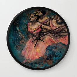"Edgar Degas ""Three dancers in red costume"" Wall Clock"