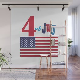 4th of July Happy Independence Day Patriotic American flag & stars Wall Mural