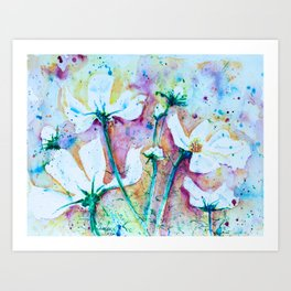 Cool Blue Vibrant Cosmos watercolor by CheyAnne Sexton Art Print