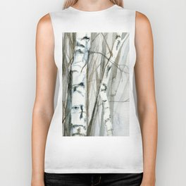 Winter Birch Trees Woodland Watercolor Original Art Print Biker Tank