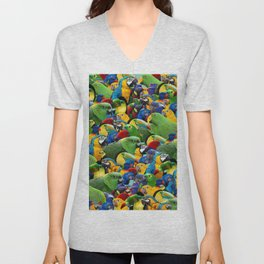 Parrots collage birds photo print parrots pattern green blue red yellow Unisex V-Neck
