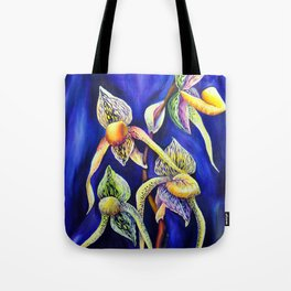 Orchid -  The Paphiopedilum , known as Lady's Slipper Tote Bag