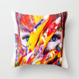 Paint Makeup Girl Cosmetics Color Creativity Throw Pillow