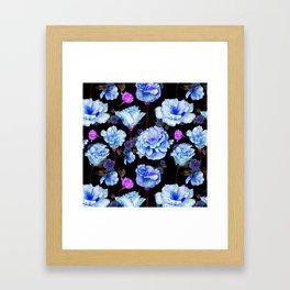 Blue pink purple watercolor roses pattern Framed Art Print