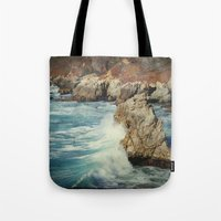 big sur Tote Bags featuring Big Sur - Embrace me by Jenndalyn
