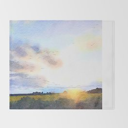 Dawn on the Road Throw Blanket