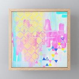 Abstract Mix - Lemon Yellow, Magenta & Turquoise Framed Mini Art Print