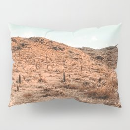 Saguaro Mountain // Vintage Desert Landscape Cactus Photography Teal Blue Sky Southwestern Style Pillow Sham