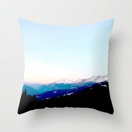 Mountain views abstracted to color blocks Throw Pillow
